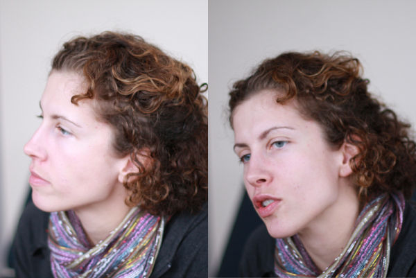 two portrait views of my sister
