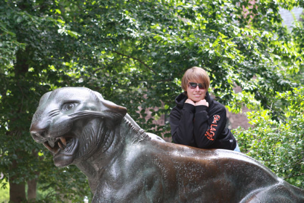 kristina with a princeton tiger sculpture