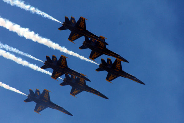 six blue angels flying in formation 2008