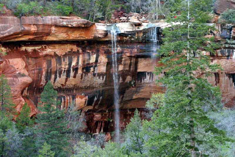 waterfalls on the kayenta trail in zion canyon