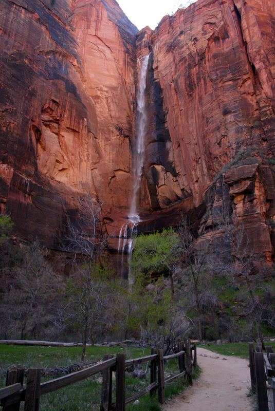 waterfall at temple of sinawava in zion canyon