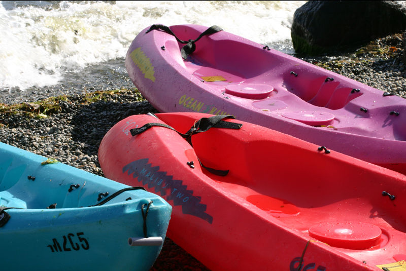 bright kayaks on the shores of lake washington