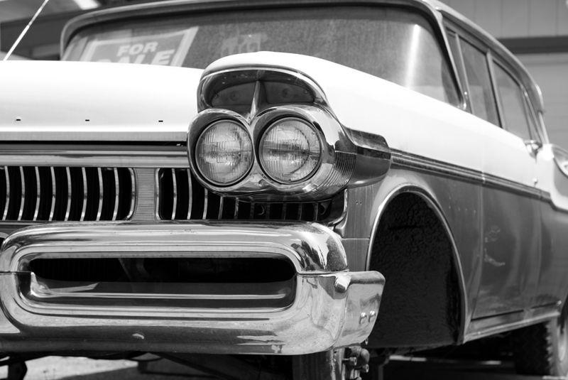 closeup of a 1963 car