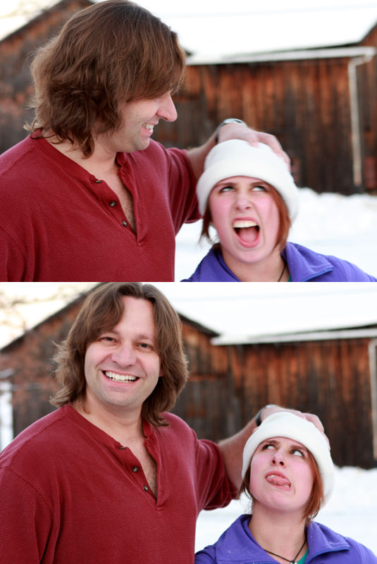 father daughter play in the snow