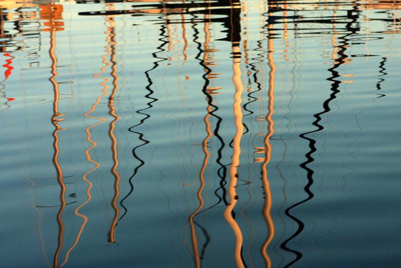 reflections of masts at elliott bay marina