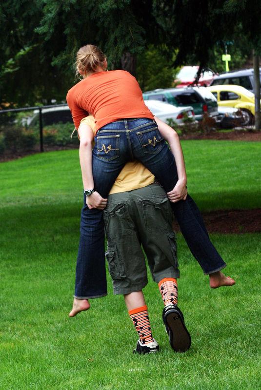 piggyback in a park