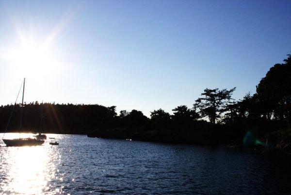 at anchor in ewing cove, sucia island, san juans