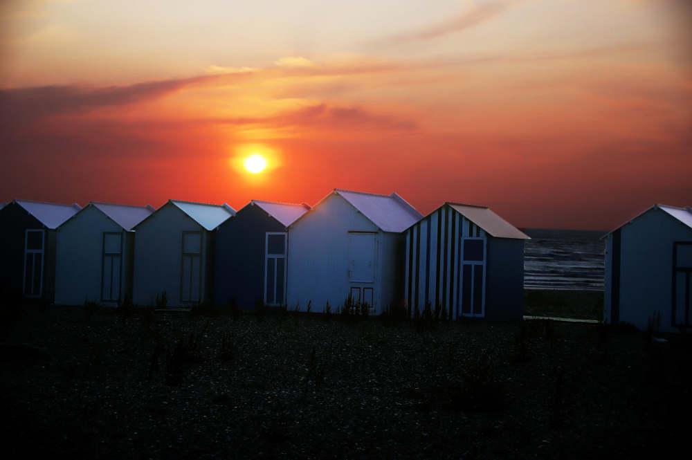 Sunset sur les cabines de Cayeux sur Mer