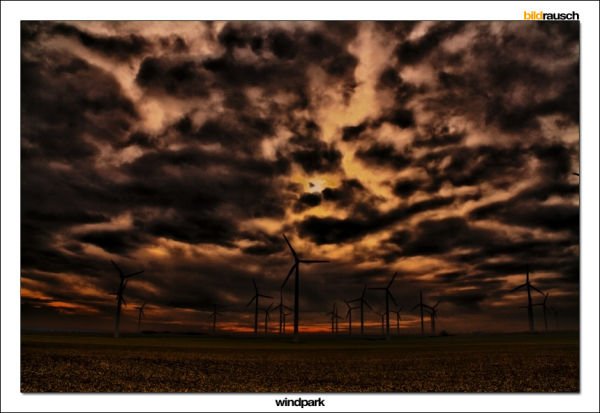 windpark, sky, clouds, red, wind, field, germany,