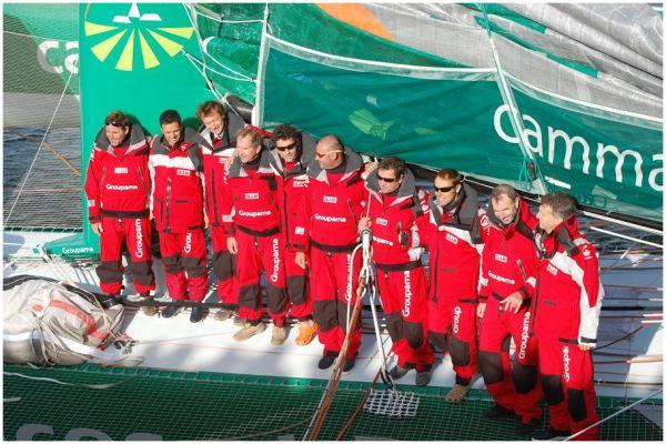 L'équipage de Groupama 3 - Trophée Jules Verne