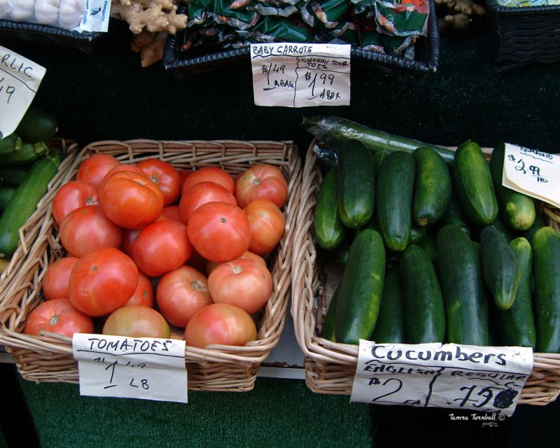 Tomatoes and Cucumbers in Open Market