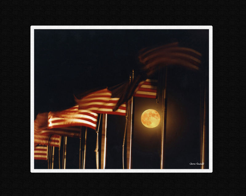 Moon and flags