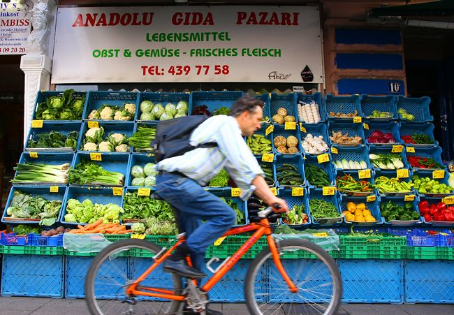 Hamburg, Germany - fruit stand and bicyclist