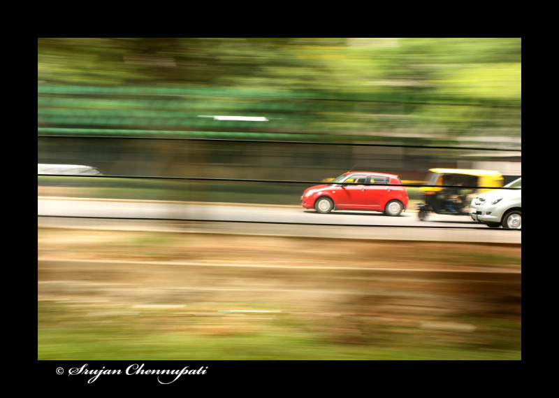 Panning shot of a car