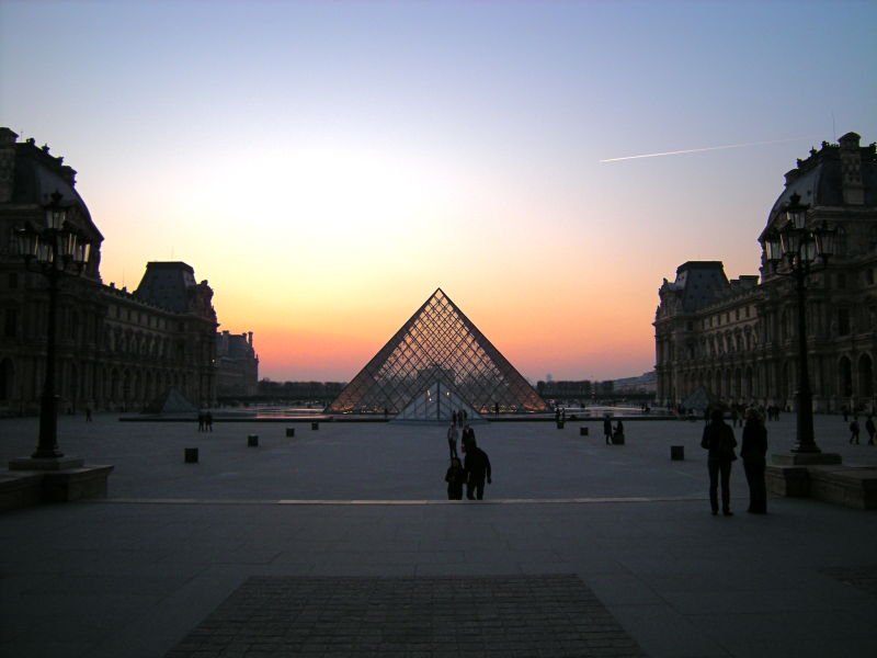 The Louvre glass pyramid beautiful sky color color