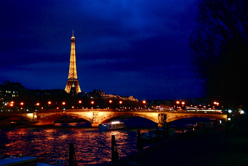 Eiffel tower over the water Paris France