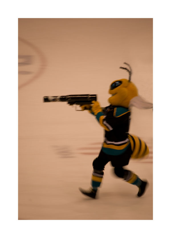 A picture of a killer bee mascot