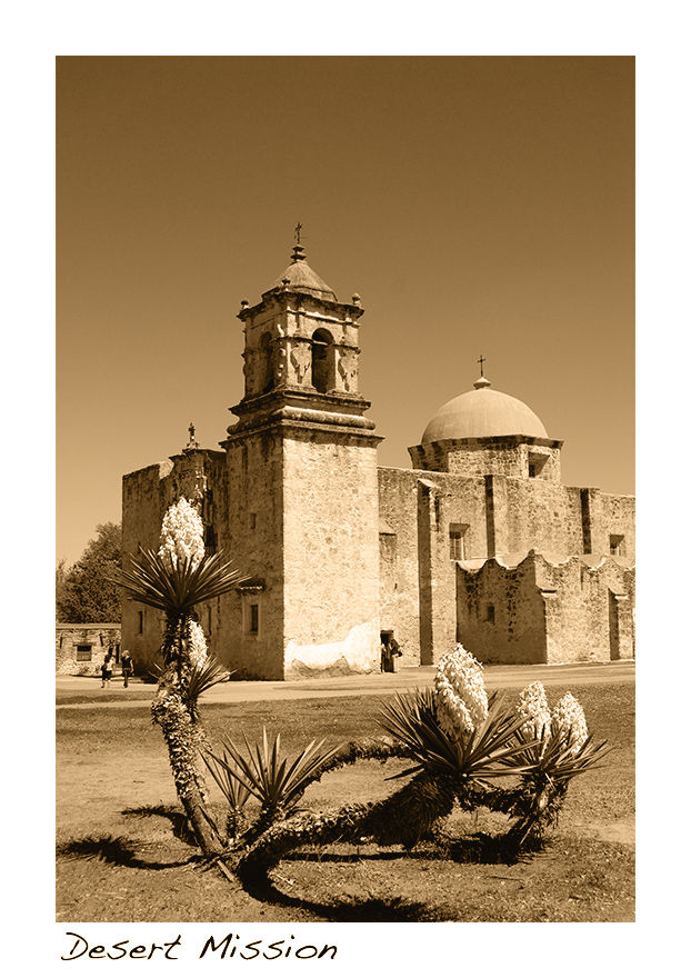 A doutone picture of a San Antonio Mission