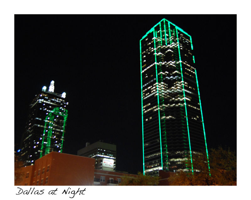A picture of Dallas at night