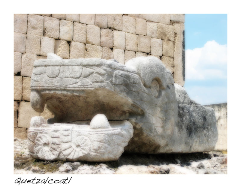 A picture of Quetzalcoatl - the plumed serpent god