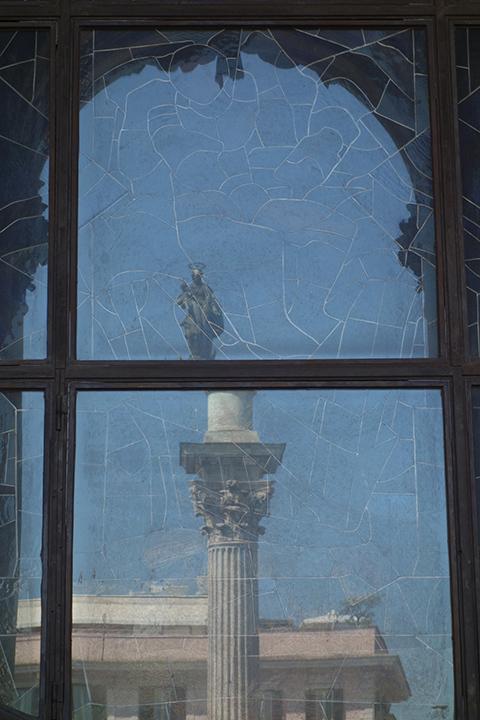 A reflection of the Colonna della Pace