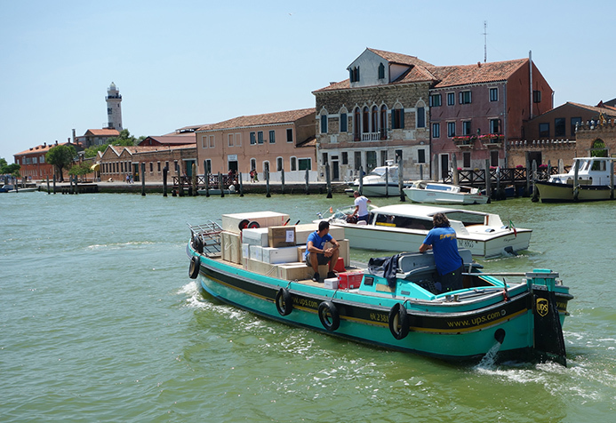 A picture of a UPS Boat in Murano, Italy
