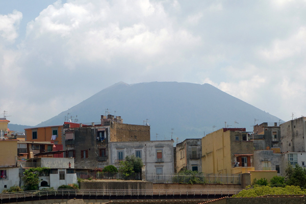 A picture of Herculaneum with Vesuvius in the back