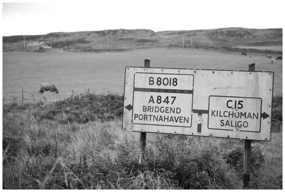 road sign old islay hebrides scotland