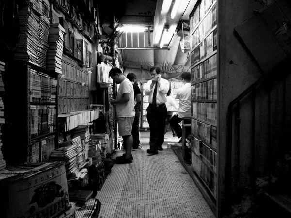Books rental at a staircase entrance @ Kwun Tong