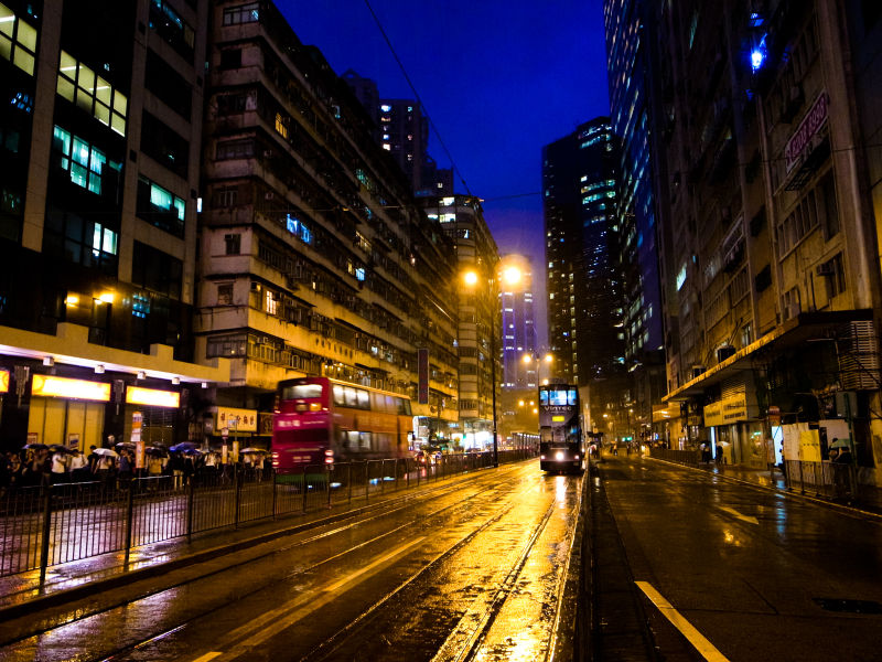 Rainy Night with Hong Kong Tram