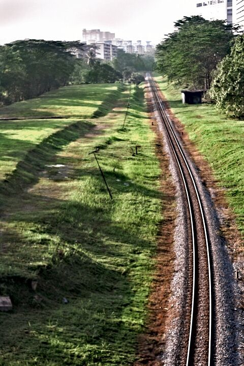 A picture of the rails from a train