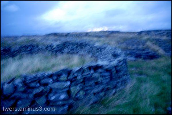 Blue stone fence