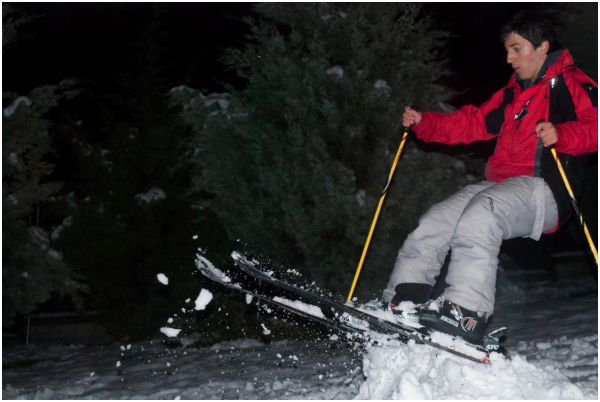 Skiing behind the school, Fantastic jump.