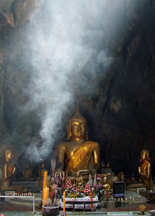 Buddha in cave temple.