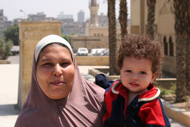 mama and her little boy in Louxor Egypt