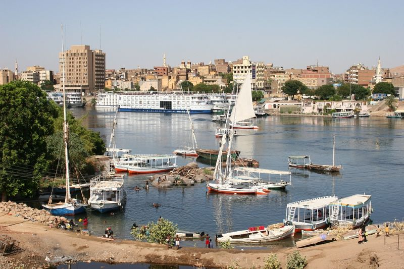 little nubian village port on the Nil river