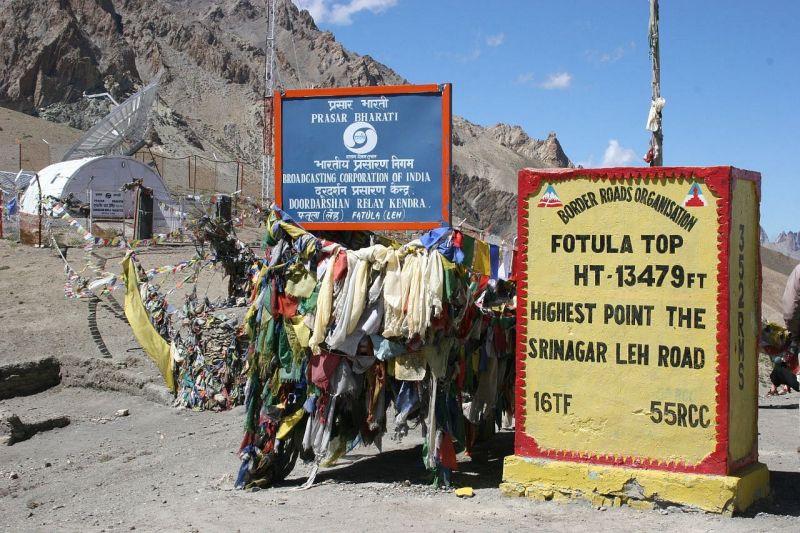passage d'un col à  4 500 m d'altitude