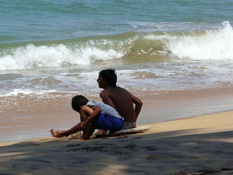 portrait d'enfants en bord de mer