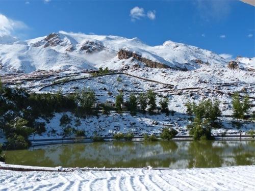 snow landscape in Nako Himachal pradesh
