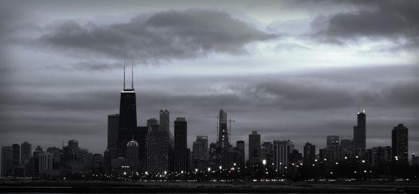 Chicago Skyline Clouds Sunset Storm