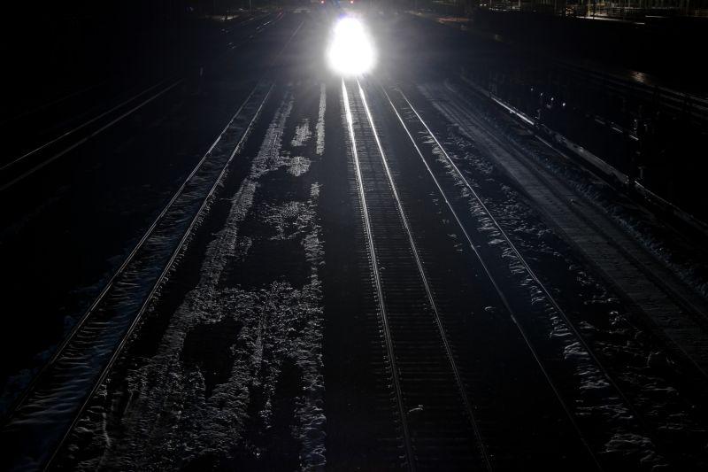 Train light end of tunnel Tracks Laramie Wyoming