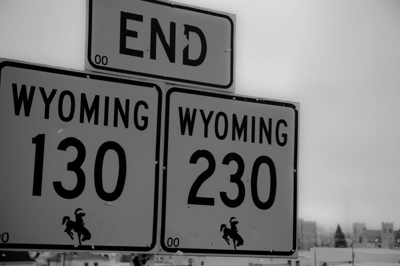 Wyoming Highway End of Road Laramie Wyoming