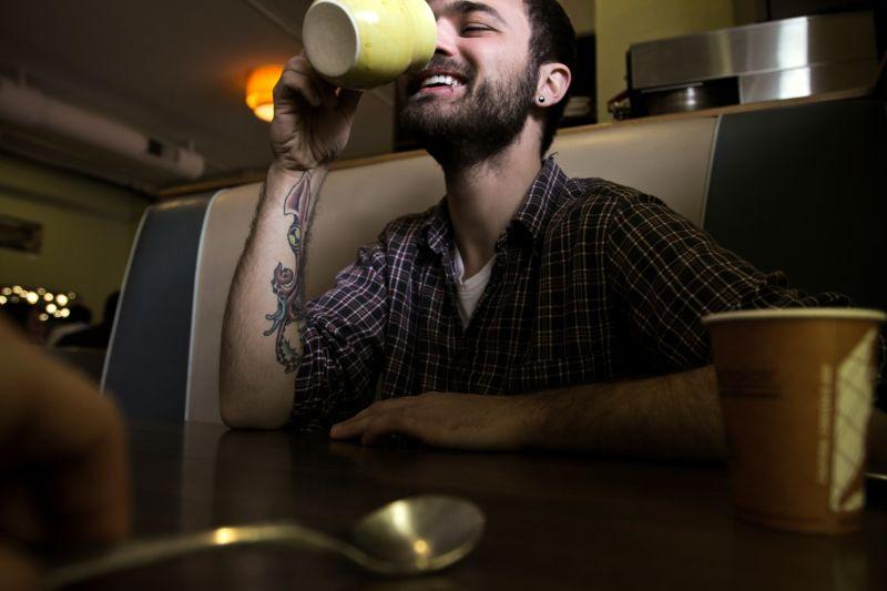 Cody Denver Colorado Downtown Eating Coffee Laugh