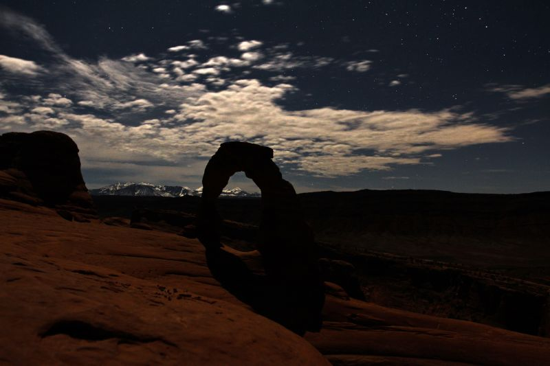 Moab Utah Delicate Arch Moon Stars Night