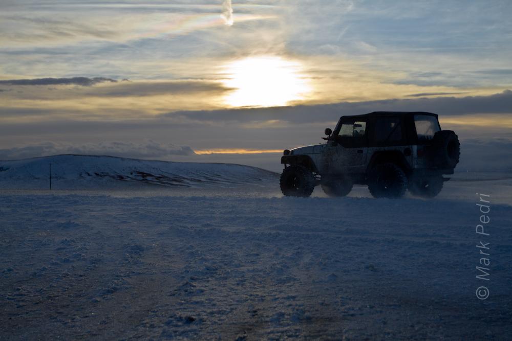 Jeep Wyoming Laramie Snow Winter Road
