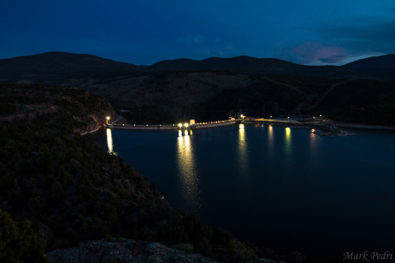 Flaming Gorge Dam Night Sunset Lights Water