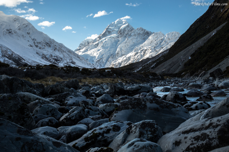 Mt Cook, River, New Zealand, Mountain, Snow
