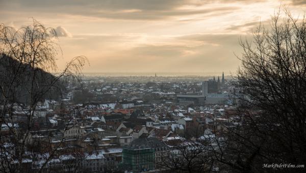 Heidelberg, Germany, Snow, Sunset, Philosophers