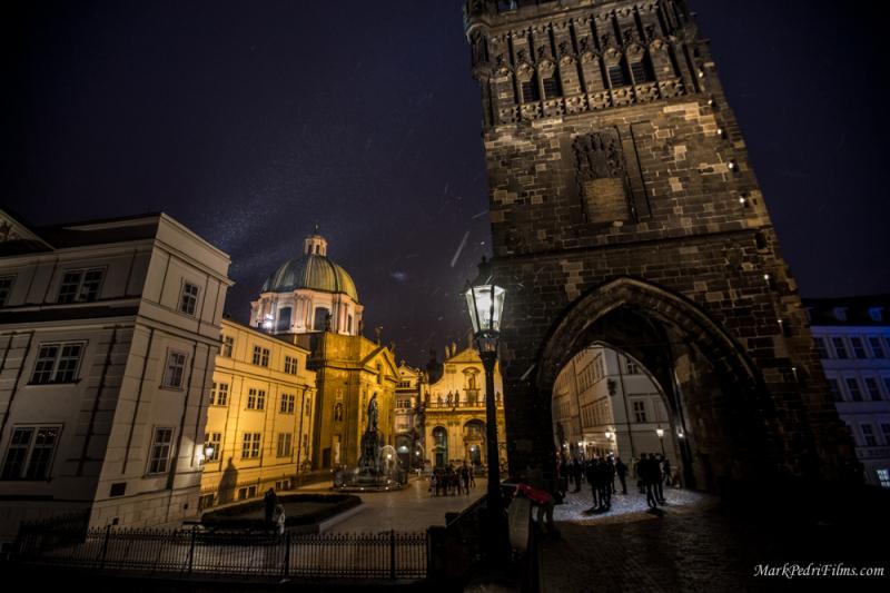Prague, Bridge, Night, Snow