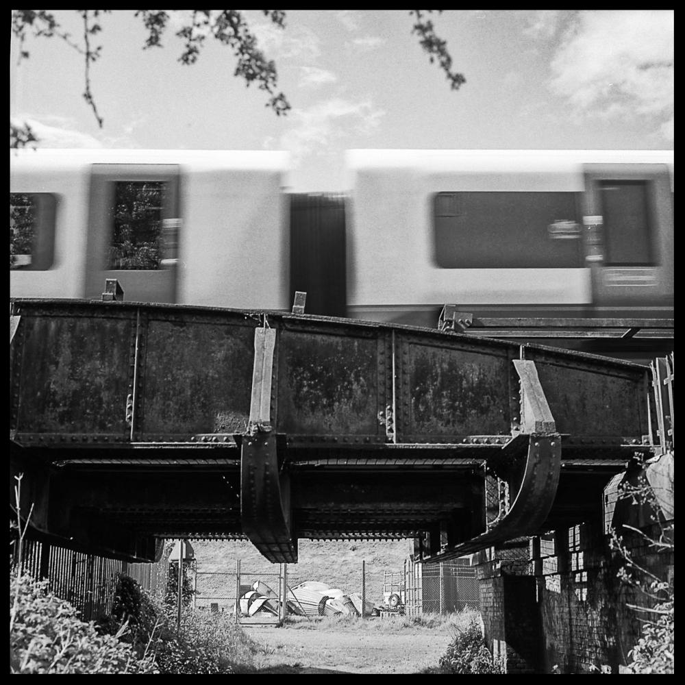 fast train, old bridge
